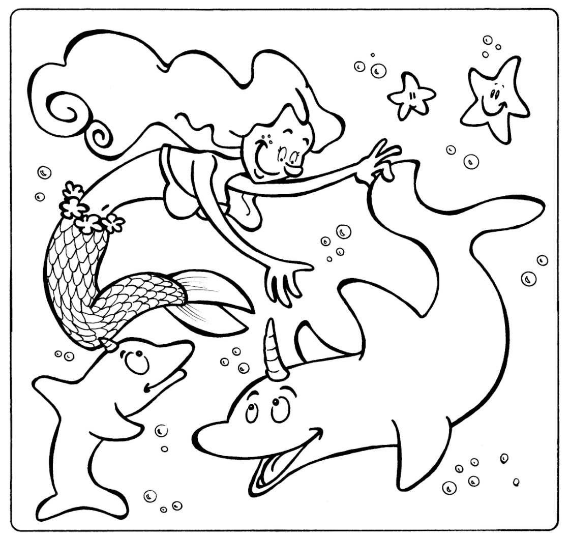 Dolphin with a mermaid coloring page - Animals Town